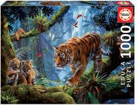 Пъзел Educa от 1000 части - Тигри в джунглата