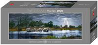 Панорамен пъзел Heye от 2000 части - Стадо слонове, Александър фон Хумболт