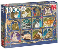 Пъзел Jumbo от 1000 части - Котешки хороскоп