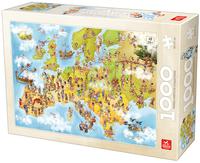 Пъзел Deico Games от 1000 части - Карта на Европа, с карикатури