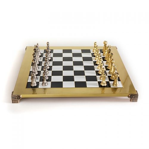 Луксозен шах Manopoulos - Staunton, злато и сребро, 44x44 см