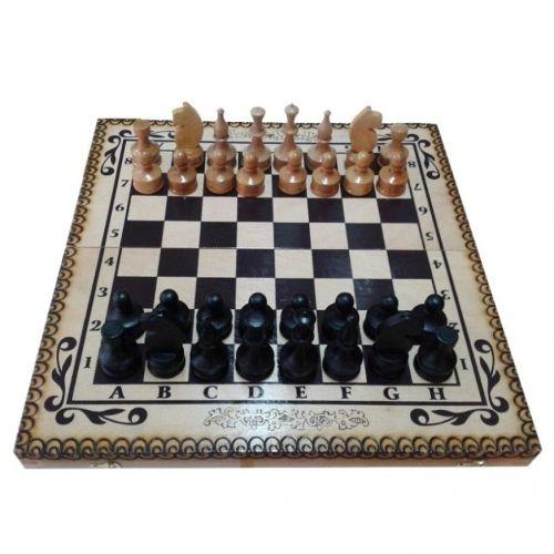 Комплект шах и табла Oreshak, ръчна изработка 34x34 см