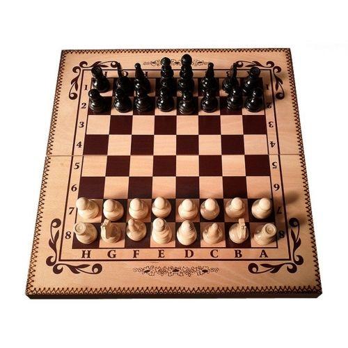 Комплект шах и табла бук - ръчна изработка 48/48