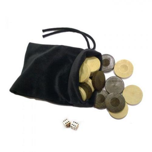 Дървени пулове за табла - 20 мм и 2 зарчета от кост в торбичка