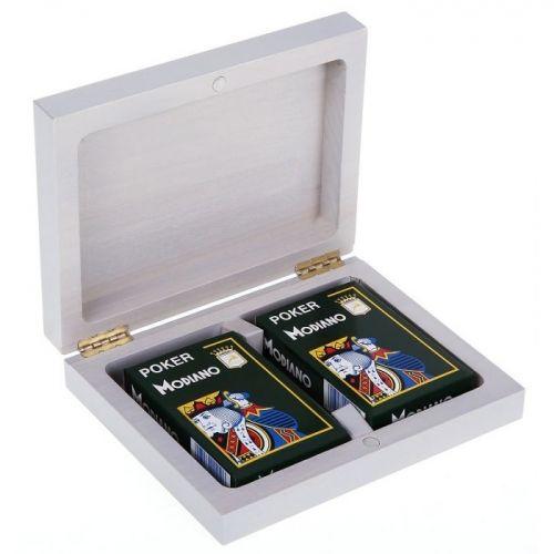Дървена кутия с 2 тестета карти Modiano