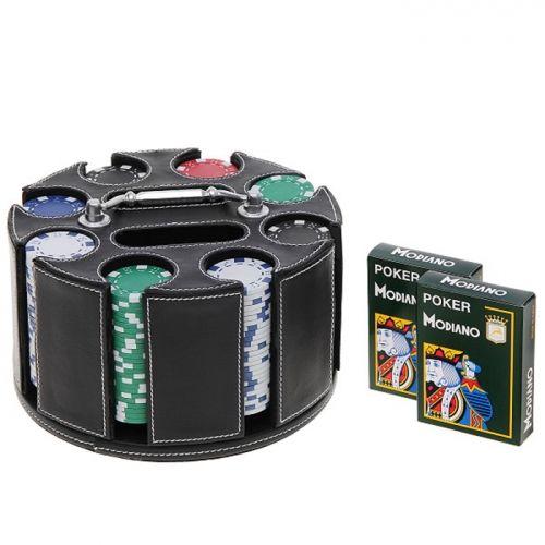 Покер чипове с кожена поставка