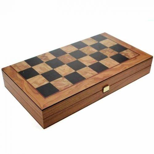 Комплект шах и табла Manopoulos - Маслиново дърво, 30x30 см