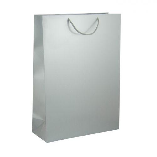 Подаръчен плик сребрист, гланцов - голям, 46х33х14 см