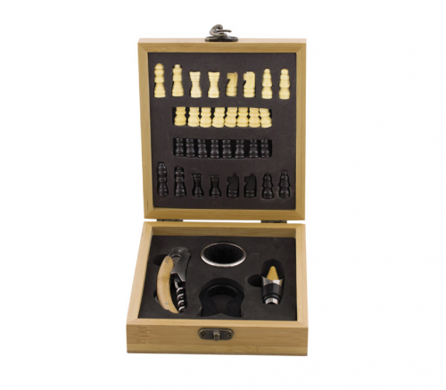 Комплект шах с аксесоари за вино, бамбукова кутия, 17x14.8 см