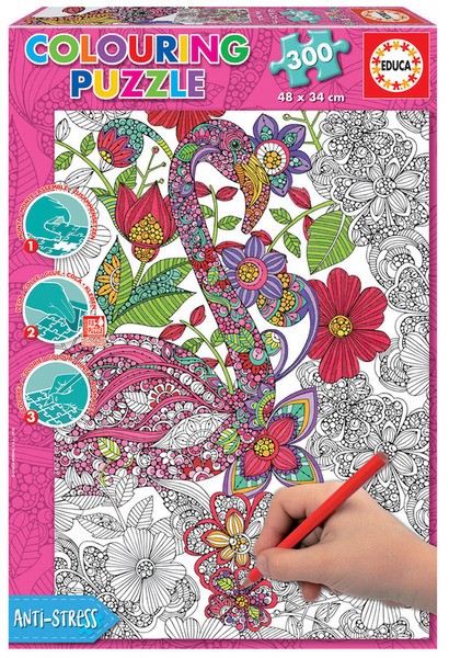 Пъзел за оцветяване Educa от 300 части - Цветно фламинго