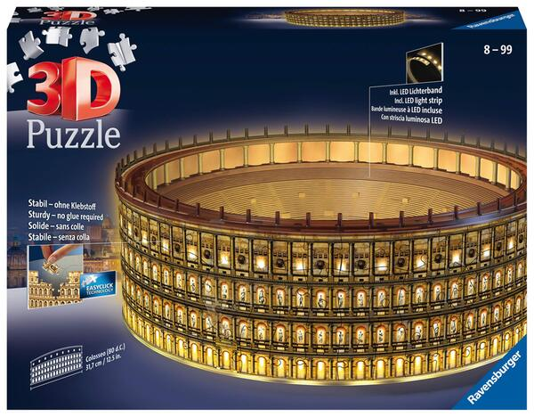 3D Пъзел Ravensburger от 216 части - Колизеум, светещ