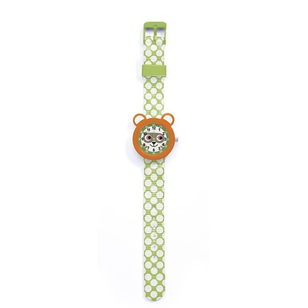 Ръчен часовник Djeco - Montre Racoon, устойчив на пръски, оранжев-зелен