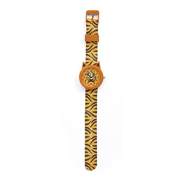 Часовник Djeco - Montre Tiger, устойчив на пръски, оранжев