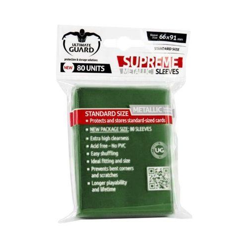 Протектори за карти Ultimate Guard - Supreme Standard Metallic, 66x91мм, зелени, 80бр