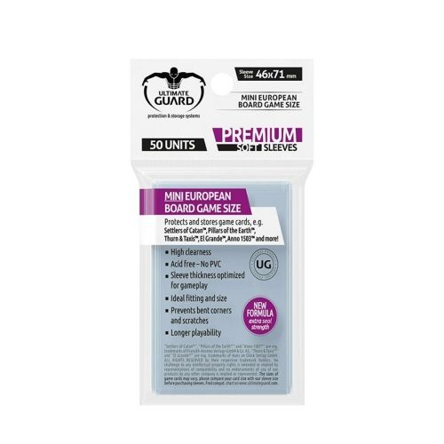 Протектори за карти Ultimate Guard - Premium Soft Mini European, 46x71мм, прозрачни, 50бр