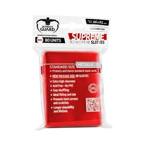 Протектори за карти Ultimate Guard - Supreme Standard Metallic, 66x91мм, червени, 80бр