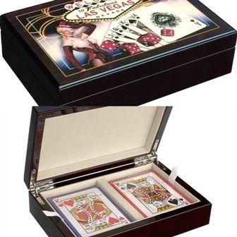 Дървена кутия Las Vegas с 2 тестета карти Modiano