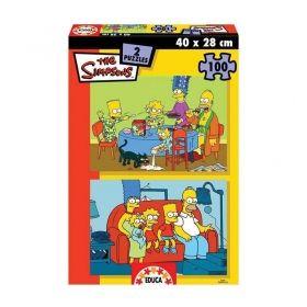 Комплект пъзели Educa от 2 по 100 части - Барт Симпсън на училище
