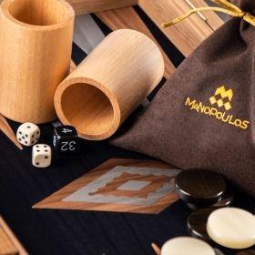 Дървена табла Manopoulos, цвят: американски орех, с отделения за пулове, среден размер