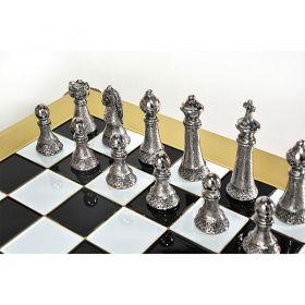Луксозен шах комплект Manopoulos - Staunton gold - silver