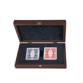 Луксозен шахКарти за игра Manopoulos - Tъмен орех, дървена кутия  комплект Manopoulos - Staunton gold - silver