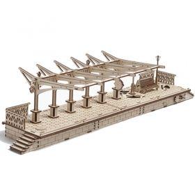 Механичен 3D пъзел Ugears - перон за локомотив