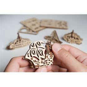 Механичен 3D пъзел Ugears - Фиджет – Лодчици