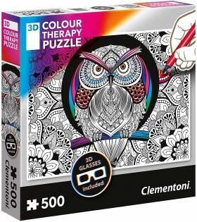 Пъзел за оцветяване Clementoni от 500 части - Бухал, с 3D очила