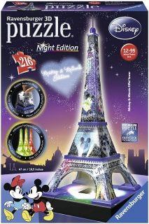 3D пъзел Ravensburger от 216 части - Дисни, Айфеловата кула през нощта