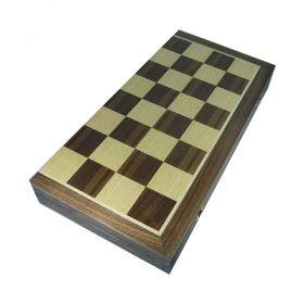 Специална кутия за професионален шах мат от фурнир американски орех и африканско кото