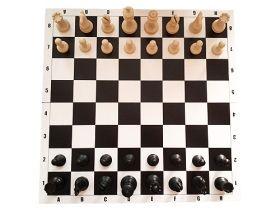Пластмасови фигури за шах Стаунтон в памучна торба