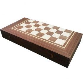 Кутия за шах и табла с естествен фурнир тъмен орех/ясен 48/48
