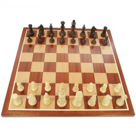 Комплект дъска за шах с естествен махагон ръчна изработка 48/48 и фигури за шах Стаунтон