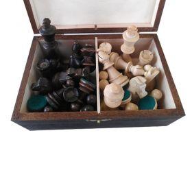 Дървени фигури за шах Стаунтон 6 с утежнения, в дървена кутия