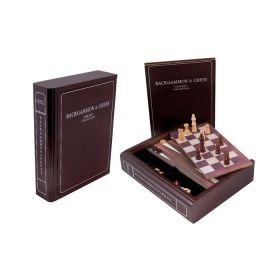 Комплект игри 3 в 1 F.Bartholdi - The Book - табла, шах и дама, 23x23 см