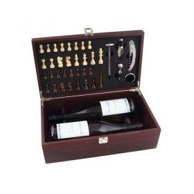 Шах и дама в кутия за 2 бутилки с аксесоари за вино