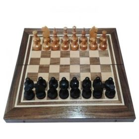 Комплект шах и табла тъмен орех/ясен - ръчна изработка 34/34