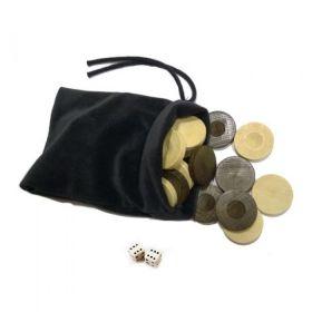 Дървени пулове за табла - 35 мм и 2 зарчета от кост в торбичка