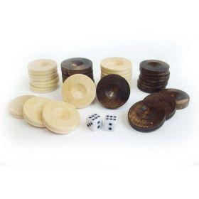 Дървени пулове за табла - 20 мм и 2 зарчета от кост в кесийка