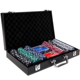 Покер комплект от 300 чипа в кожено куфарче