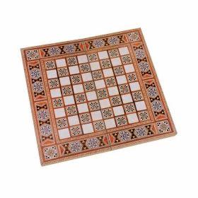 Дървена табла + шах с ориенталски принт, голяма