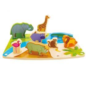 Дървен пъзел за игра Диви животни