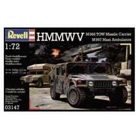 Военен джип с оръдие HMMWV M966 и военна линейка M997 - Сглояеми модели Revell