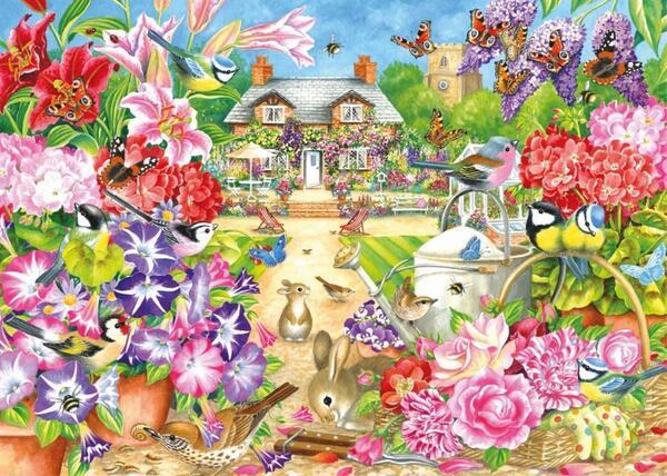 Пъзел Jumbo от 1000 части - Лятна градина, Клеър Комърфорд