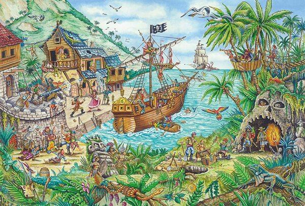 Пъзел Schmidt от 100 части - Пиратски остров, с пиратско знаме