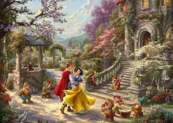 Пъзел Schmidt от 1000 части - Снежанка танцува с принца, Томас Кинкейд