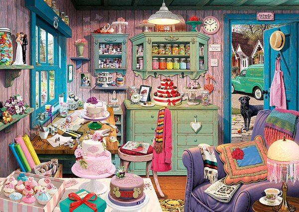 Пъзел-загадка Schmidt от 1000 части - Стаята с вкусотиите на баба, Стив Рийд
