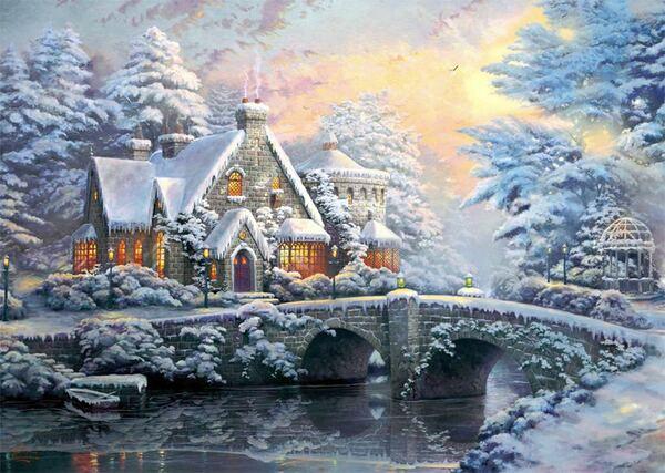 Пъзели Schmidt от 2 x 1000 части - Пролет и зима в имението с лампите, Томас Кинкейд