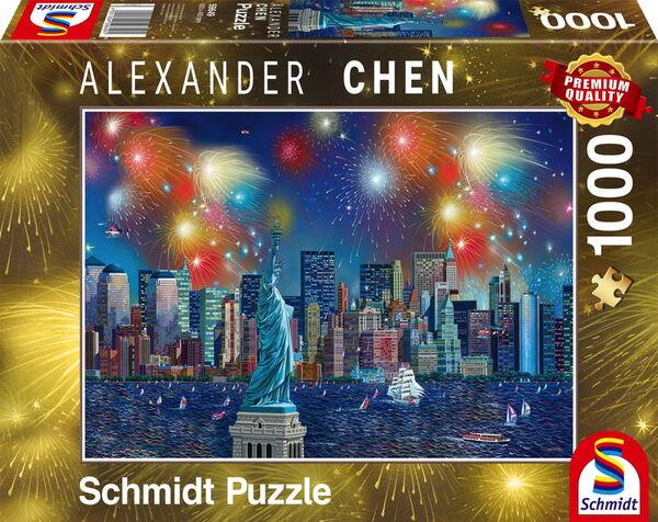 Пъзел Schmidt от 1000 части - Фойерверки над Статуята на Свободата, Александър Чен