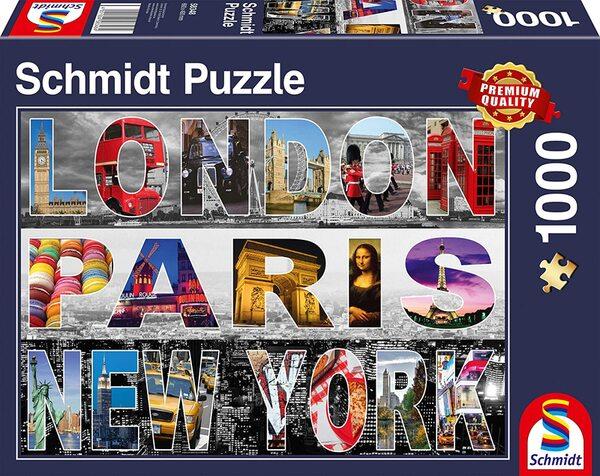 Пъзел Schmidt от 1000 части - Лондон, Париж, Ню Йорк